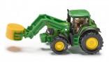 SIKU 1379 Traktor JOHN DEERE s čelním nakladačem a vidlemi na kulaté balíky 1:87