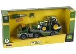 Auto s traktorem JOHN DEERE 6215R, čelním nakladačem a nářadím KLEIN 3908