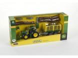 Traktor JOHN DEERE 6215R s čelním nakladačem, přívěsem a nářadím KLEIN 3906