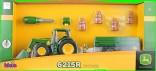 Traktor JOHN DEERE 6215R s čelním nakladačem, přívěsem a nářadím KLEIN 3905
