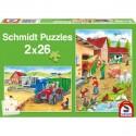 Schmidt Puzzle Zvířátka na statku a žně 2 x 26 dílků