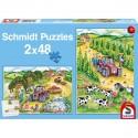 Schmidt Puzzle Sklizeň na farmě 2 x 48 dílků