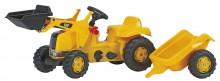 Traktor šlapací CAT LADER s čelním nakladačem a návěsem ROLLY TOYS