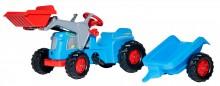 Traktor šlapací CLASSIC TRAC s čelním nakladačem a návěsem ROLLY TOYS
