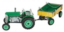 Traktor ZETOR zelený s přívěsem