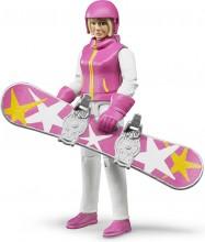 Figurka žena blond snowboardistka BRUDER WORLD
