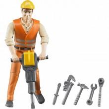 Figurka muž pracovník na stavbě s nářadím BRUDER WORLD