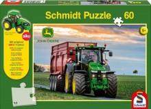 Puzzle Traktor JOHN DEERE 8370R a návěs BERGMANN 60 dílů