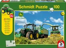 Puzzle Traktor JOHN DEERE 7310R s řezačkou JD 8600i 100 dílů