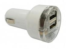 Nabíječka do auta KF-1021 2× USB, bílá 12/24V