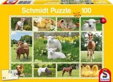 Puzzle Zvířátka na farmě 100 dílů
