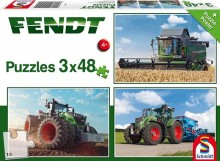 Puzzle Traktory FENDT a sklízecí mlátička sada 3 x 48 dílů