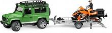 Auto LAND ROVER DEFENDER zelené s návěsem, sněžný skútr a figurka BRUDER 02594