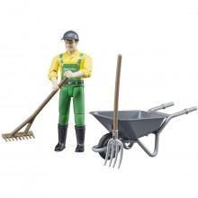 Figurka muž farmář s kolečkem a chovatelskými potřebami WORLD BRUDER 62610
