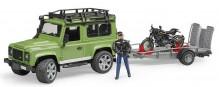 Auto LAND ROVER DEFENDER zelené s návěsem, motorka a figurka BRUDER 02598