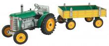 Traktor ZETOR zelený s přívěsem KOVAP 0392