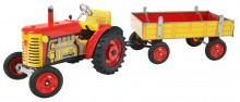 Traktor ZETOR červený s přívěsem KOVAP 0392
