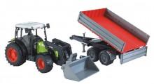 Traktor CLAAS NECTIS 267F s čelním nakladačem a návěsem BRUDER 02112