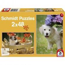 Puzzle Pejsek a kočička 2 x 48 dílů