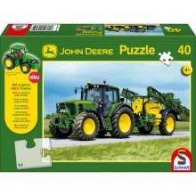 Puzzle Traktor JOHN DEERE 6630 a postřikovač JD 732 40 dílů