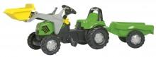 Traktor šlapací DEUTZ FAHR s čelním nakladačem a návěsem ROLLY TOYS