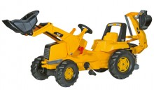 Traktor šlapací CAT s čelním nakladačem a a podkopovou lopatou ROLLY TOYS