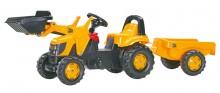 Traktor šlapací JCB s čelním nakladačem a návěsem ROLLY TOYS