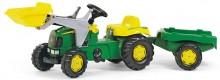 Traktor šlapací JOHN DEERE s čelním nakladačem a návěsem ROLLY TOYS