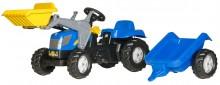 Traktor šlapací NEW HOLLAND T 7550 s čelním nakladačem a návěsem ROLLY TOYS