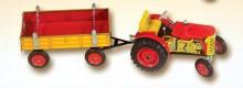 Traktor ZETOR červený s přívěsem