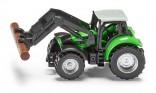 SIKU 1356 Traktor DEUTZ FAHR AGROTRON s čelním drapákem a kládou 1:87