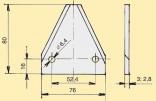 Žabka CASE nebroušená 3″/2,8/80 mm horní drážkování