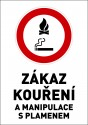 """Samolepka výstražná """" ZÁKAZ KOUŘENÍ A MANIPULACE S PLAMENEM"""" A4"""