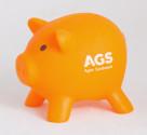 Pokladnička prasátko oranžové s logem AGS