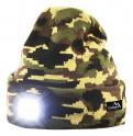 Čepice zimní ARMY s LED svítilnou USB