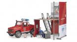 Stavebnice požární stanice s autem a figurkou bworld BRUDER 62701