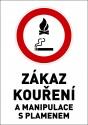 """Samolepka výstražná """" ZÁKAZ KOUŘENÍ A MANIPULACE S PLAMENEM"""" A5"""
