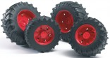 Dvojmontáž pneumatik s oranžovými ráfky série 3000 BRUDER 03312