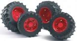 Dvojmontáž pneumatik s červenými ráfky série 3000 BRUDER 03313