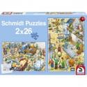 Schmidt Puzzle Staveniště a řemeslníci 2 x 26 dílků