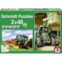 Schmidt Puzzle Traktory FENDT, žací stroj POTTINGER a vidle na balíky 2 x 48 dílků